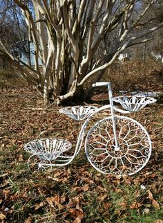 Large White Tricycle Planter.