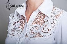 Such a beautiful idea to alter any shirt / t-shirt / top !!!  Irish Lace Crochet !