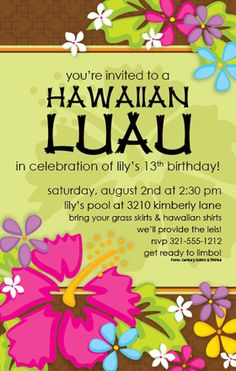 This beautiful design from Paper So Pretty is a fun way to announce your next luau or tropical party!   With brightly colored flowers along the top and bottom borders, your personalization will stand out boldly against a soft green background.  Includes white envelopes.  Available blank or personalized.