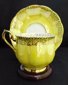 Royal Albert Luster Yellow Glossy Finish Tea Cup Saucer   eBay