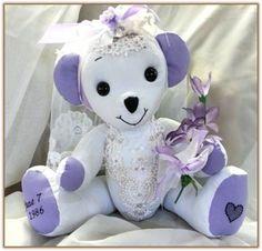 Memory Teddy Bear made from vintage wedding dress / gown. by TammyBears www.HandmadeMemoryBears.com