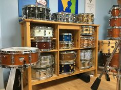 Great idea for drum storage and display. Found on DrumForumOnline.