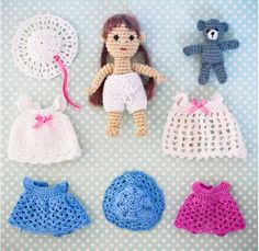 Lots of free patterns for dolls, outfits and even crocheted dollhouses by Hook by Hand