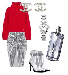 """Silver"" by paulina-dubnicka on Polyvore featuring Yves Saint Laurent, Versace, Chanel, Off-White and Cartier"