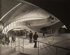 1962 NYC Idlewild Airport 1960s TWA Terminal NEW YORK CITY vintage photo interior (now known as Kennedy Airport)
