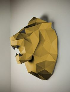 Papertrophy Lion www.papertrophy.com #papertrophy #lion #papercraft #paperanimal