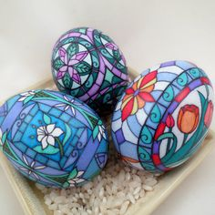 Three stained glass chicken pysanky by Dore Douty www.doreseggs.com