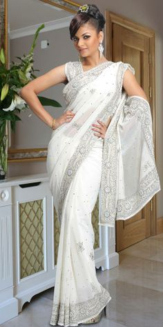 white sari | ... Sarees :: Fancy Designer Saris :: Fantastic White Saree (SKH186