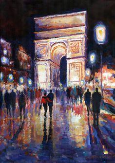 "Saatchi Art Artist Yuriy Shevchuk; Painting, ""Paris Miting Point Arc de Triomphie"" #art"