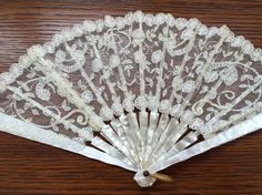 Lace Fan with Pearlized Frame Lace Palace Souvenir by vintagemb60