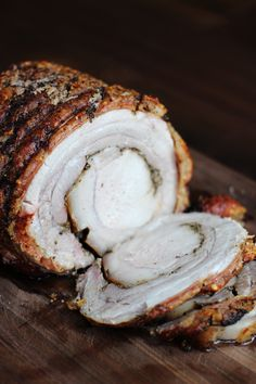 I've been waiting a long time to make a porchetta. Ever since I a porchetta instead of the same ol' traditional ham or turkey this holiday. This porchetta came out ah-mah-zing. Salty crispy pork skin so Porchetta Recipes, Pork Recipes, Gourmet Recipes, Cooking Recipes, Porchetta Roast, Italian Dishes, Italian Recipes, Italian Foods, Crispy Pork
