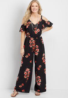floral cold shoulder jumpsuit   maurices