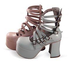 ◢an*tai*na*◣ LOLITA COS PUNK超高跟多带女王鞋 9804-1 黑-淘宝网