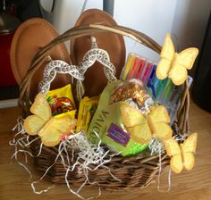 Easter basket for a junior misses rolled up clothing bathing easter basket for a junior misses rolled up clothing bathing suit super soaker gun and lots of candy everything baskets and more negle Image collections