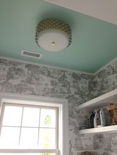 Laundry: Wallpaper- Cole & Sons // Ceiling Color- Sherwin Williams Breaktime // Ceiling fixture-Jonathan Adler
