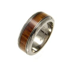 Malu Titanium Wedding Band For Men With Real Koa Wood Inlay - 8mm - Select Wedding Rings