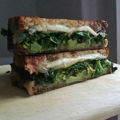 Good morning! Serving today: chargrilled broccoli, steamed kale, cheddar & smoked cheese #toasted #sandwich #eatgreen #grilledcheese