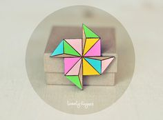 Wood Brooch Geometry Polyhedron Laser cut by TheTwentyFingers from TheTwentyFingers on Etsy. Wooden Ornaments, Pin And Patches, Laser Cutting, Origami, Jewels, Handmade, Clay, Colorful, Stickers