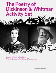 Spend a week with two of America's most beloved poets: Dickinson and Whitman! This CCSS aligned unit develops students' analysis skills as they work as a group and independently with six notable poems. Includes a creative project, an explication assignment and a test. All teacher notes and keys included. $
