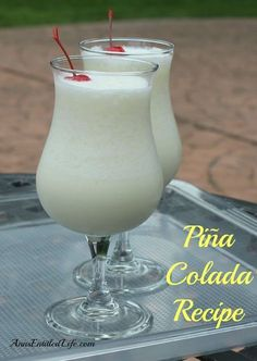 Piña Colada Recipe; A delightful blend of rum, coconut, pineapple and whipping cream, this Piña Colada Recipe is perfect for any occasion.  http://www.annsentitledlife.com/wine-and-liquor/pina-colada-recipe/