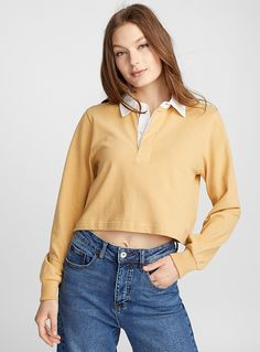 Cropped contrast collar polo | Icône | Shop Women's Long Sleeves | Simons