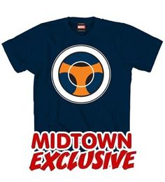 """Taskmaster logo Midtown Comics exclusive T-shirt. Comes complete with full blown envy of those with photographic reflexes and an overwhelming impulse to ignore fine print that states """"don't try this at home"""""""