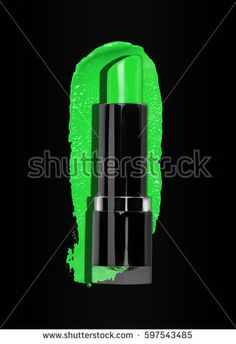 close up of green lipstick with cosmetic stroke on black background