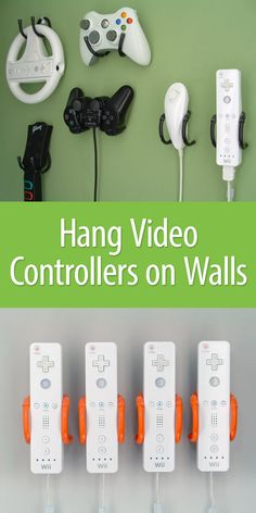 Clip - Hang Video Controllers on Walls Keep your game controllers tidy and organized by hanging them on the wall.Keep your game controllers tidy and organized by hanging them on the wall. Teen Game Rooms, Boys Game Room, Video Game Rooms, Boy Room, Kids Room, Video Games, Man Cave Video Game Room, Video Game Bedroom, Video Game Decor