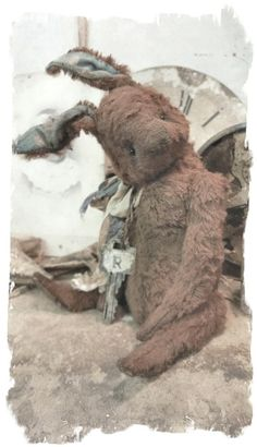 "Image of 7"" Old & Worn Brown Rabbit * By Whendi's Bears"