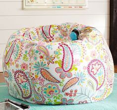 Creative and Colorful Printed Bean Bag Chairs Swirly Colorful Bean Bag