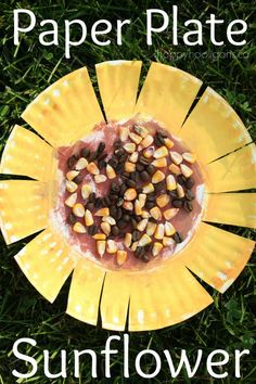 "Paper Plate Sunflower Craft - Real corn kernels and coffee beans add a lovely sensory element to this craft.  Great craft for a Letter ""S"" unit or for a fall theme! - happy hooligans"