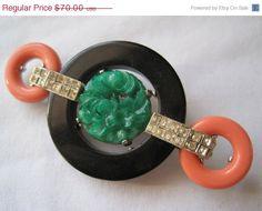 SALE Vintage Kenneth Jay Lane Brooch  Faux Coral by VintageInBloom, $63.00