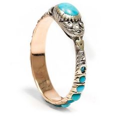 To-1820-Ouroboros RING in gold-turquoise-Diamond Snake Mourning Mourning