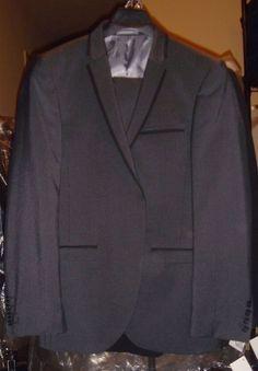 Next Gray Black Stripe Tailored Suit Tux Wool Blazer Size 40 R Pants 34/31 New #Next #Tuxedo