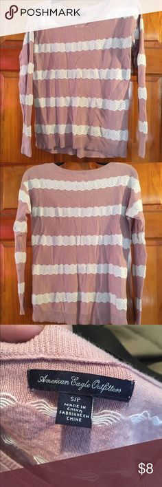 American Eagle Sweater Pre-owned American Eagle, light weight sweater, size small. Pink with white lace stripes. American Eagle Outfitters Sweaters Crew & Scoop Necks
