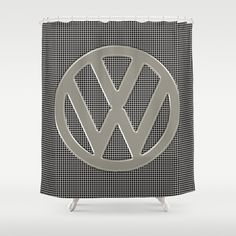VW Silver Grill Shower Curtain - $68.00.  Made from 100% easy care polyester our designer shower curtains are printed in the USA.  #showercurtain #bathroom #homedecor #VW #Volkswagen #CamperVan #Bus #logo