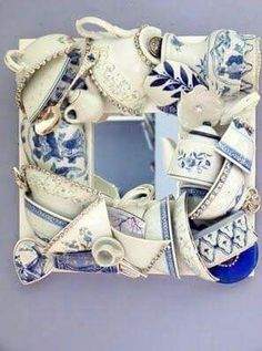 Broken China Tea Cups Transformed Into Fabulous Mosaic Mirror Frame Mirror Mosaic, Mosaic Art, Mosaic Glass, Mosaics, Mirror Mirror, Teacup Crafts, Mosaic Projects, Tea Party, Tea Cups