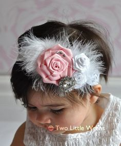 Feathered ribbon roses head band
