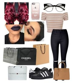 """""""Untitled #369"""" by lexi124 ❤ liked on Polyvore featuring Miss Selfridge, adidas Originals, Chanel, Tommy Hilfiger, Gucci, Prada and Casetify"""