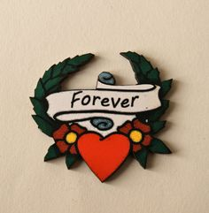 Wooden Tattoo Style 'Forever' Brooch Hearts by TheRowanTreeOnline