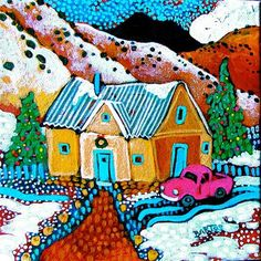 Powdered Sugar Christmas ~ Sally Bartos, New Mexico Artist | OH LOOK!  A rose colored truck!!
