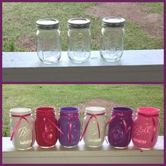 Working on mason jar crafts for upcoming birthday party!! #birthday #mason #jars #diy