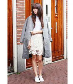 white shirt, lace skirt
