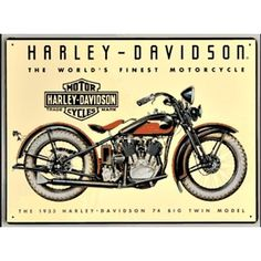 Harley Davidson 74 Big Twin Sign is a brand new embossed tin sign made to look vintage, old, antique, retro. Purchase your embossed tin sign from the Vintage Sign Shack and save.