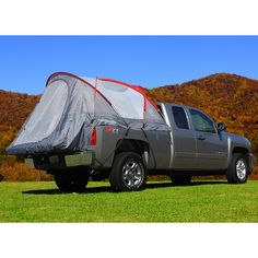 Camp in style with this roomy CampRight truck tent. This unique tent innovation features a sky view vent for more light, ventilation, and star viewing. Its polyester fabric and fiberglass pole construction add strength and stability to the structure.