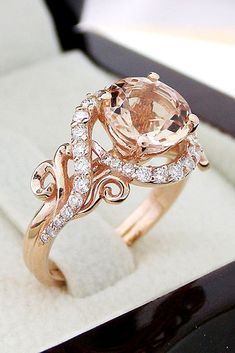Astounding Best 24+ Rose Gold Morganite Ring https://weddingtopia.co/2018/02/07/best-24-rose-gold-morganite-ring/ Pave settings utilize tiny holes drilled in the rings surface