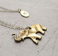 Elephant Necklace - Personalized with Initial - Good Luck Gift. $37.00, via Etsy.