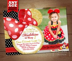 Minnie Mouse Birthday Invitation, Red and Gold Glitter Minnie Mouse Invitation, Digital Invitation, Printable Minnie Mouse Invitation I can't tell you how fun this card was to create. Working with such vibrant hues in pinks and gold glitter made me feel like a Disney princess the entire time. I admit.. I'm still a kid at heart as I truly lllllove everything Disney!