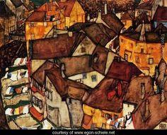 Krumau Town Crescent I - Egon Schiele - www.egon-schiele.net