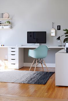 Pop of color with an office chair.